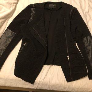 Black blazer with pleather trim and a side zipper